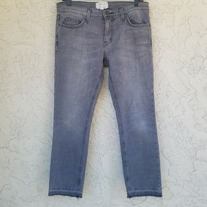 Current Elliott Cropped Straight Leg Raw Hem Jeans